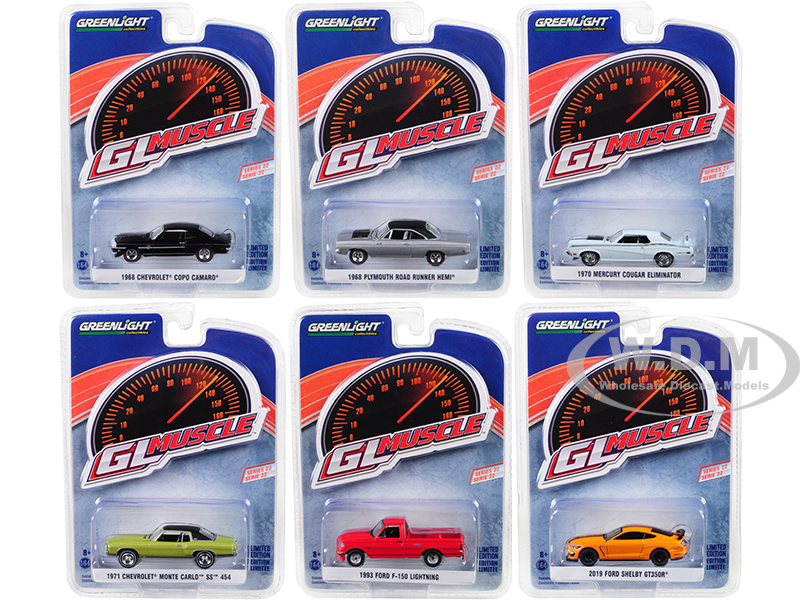 Greenlight Muscle Series 22 Set of 6 Cars 1/64 Diecast Model Cars by Greenlight