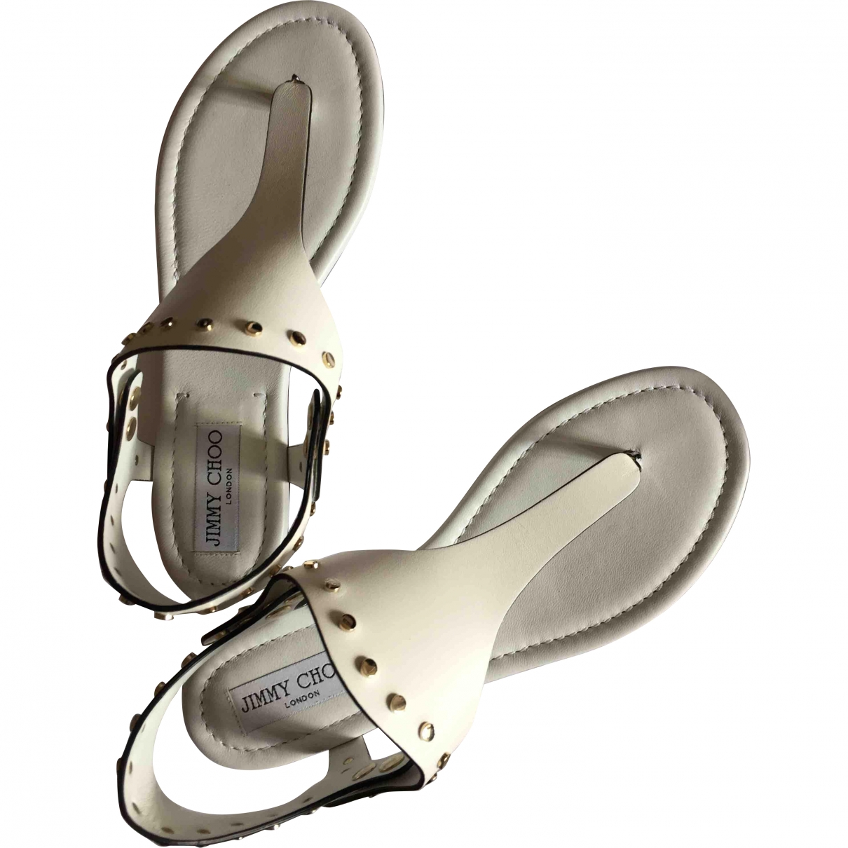 Jimmy Choo \N White Leather Sandals for Women 38 EU