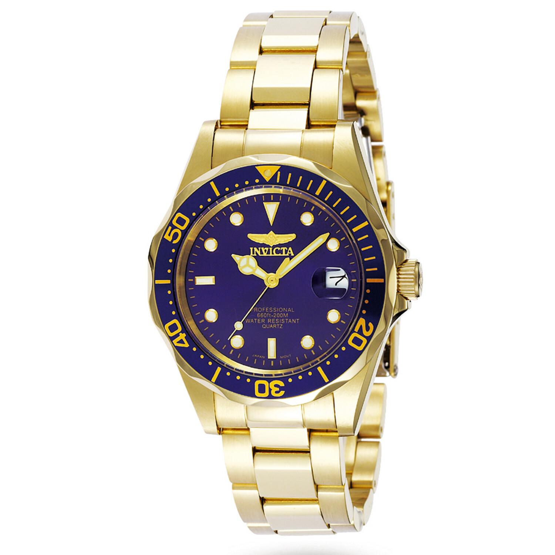 Invicta Men's Pro Driver 8937 Blue Gold Tone Quartz Diving Watch