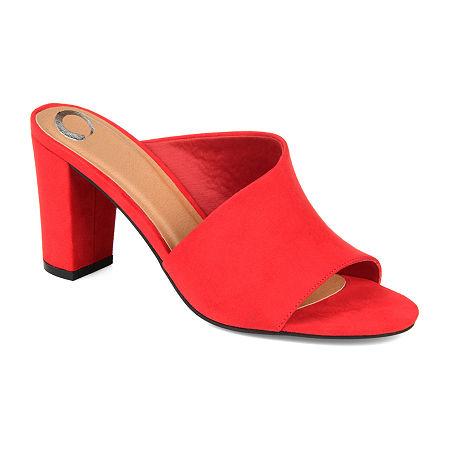 Journee Collection Womens Allea Slip-on Open Toe Mules, 7 Medium, Red