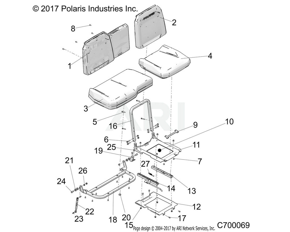 Polaris OEM 2689647 ASM-SEAT, BACK, 60, BLK/PPC | [E99A9]