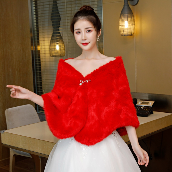 Milanoo Faux Fur Wrap Wedding Red Shawl Winter Bridal Cover Up