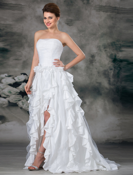 Milanoo White A-line Strapless Cascading Ruffle Organza Bridal Wedding Dress