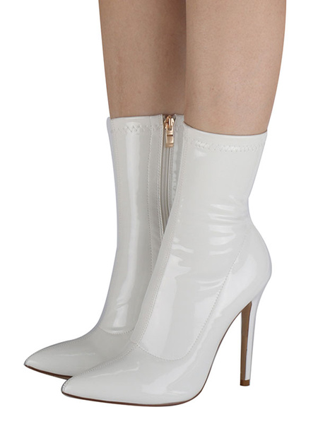 Milanoo Women Patent Ankle Boots White Pointed Toe High Heel Sexy Booties