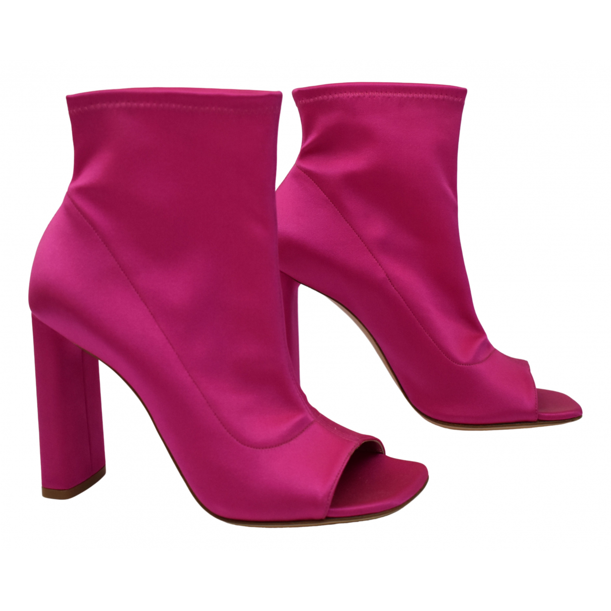 Casadei \N Pink Cloth Ankle boots for Women 37 IT