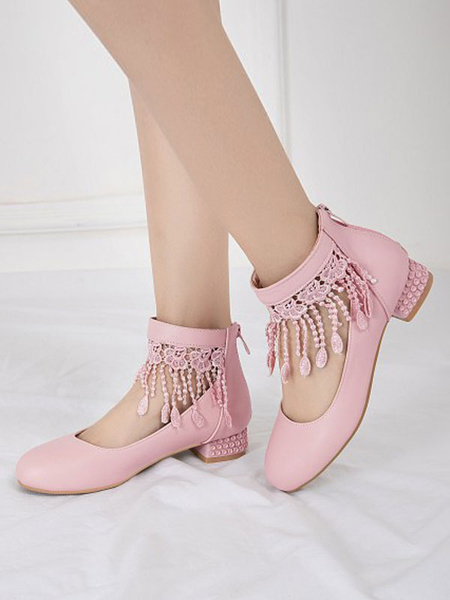 Milanoo Sweet Lolita Footwear Lace Tassel Round Toe PU Leather Lolita Shoes