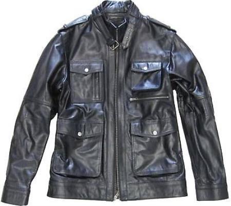 Mens Black Military Genuine Leather Jacket Slim Fit & avenue jacket