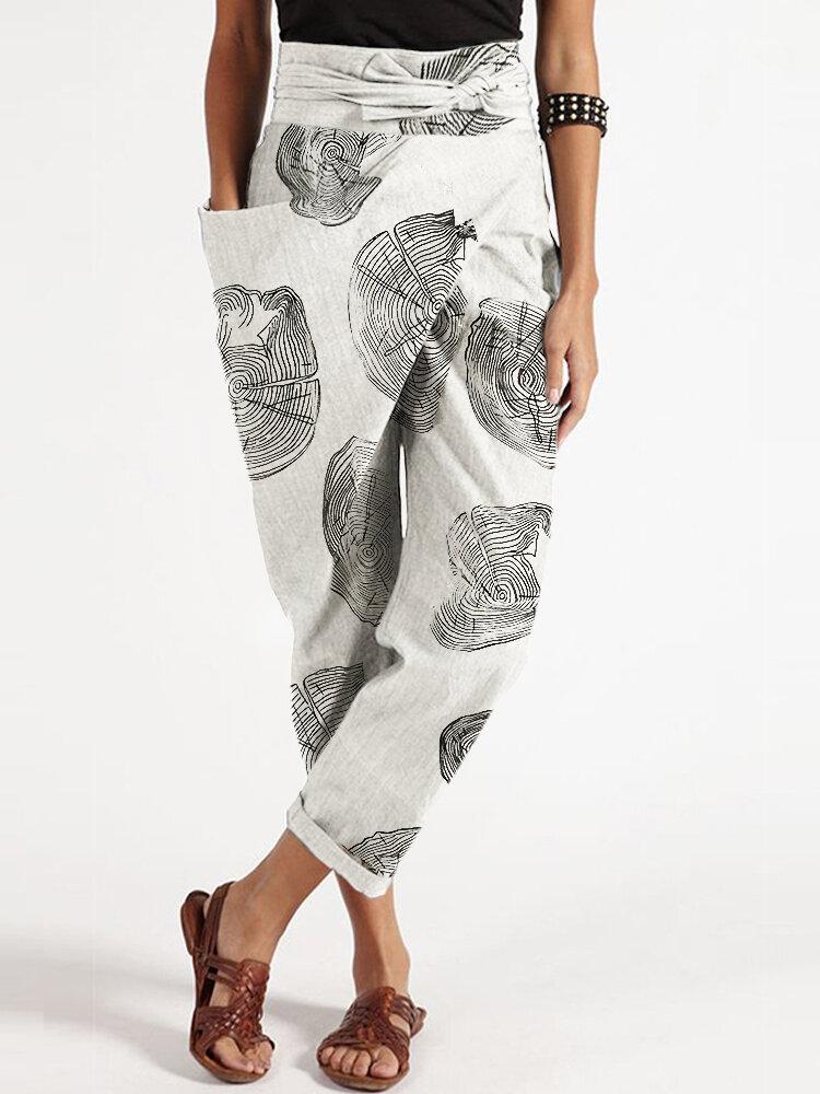 Vintage Geometric Print Waist Belt Plus Size Pants