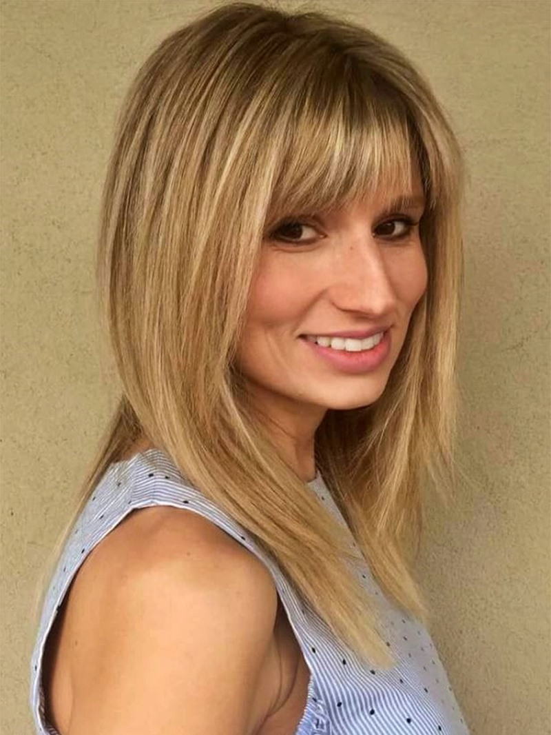 Ericdress Women's Medium Hairstyles Layered in Blonde Straight Synthetic Hair With Bangs Capless Wigs 16Inch