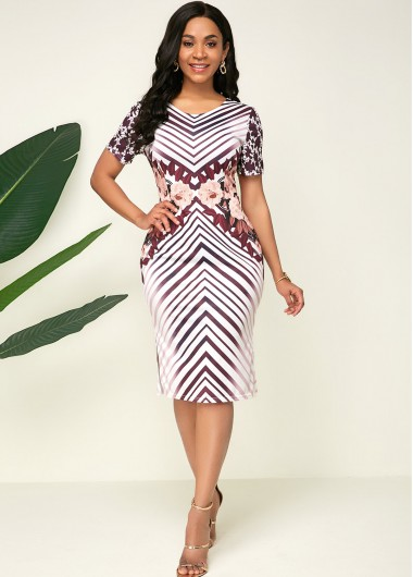 Women'S Multi Color Striped Printed Short Sleeve Sheath Casual Dress Side Slit Knee Length Elegant Cocktail Party Dress By Rosewe - 10