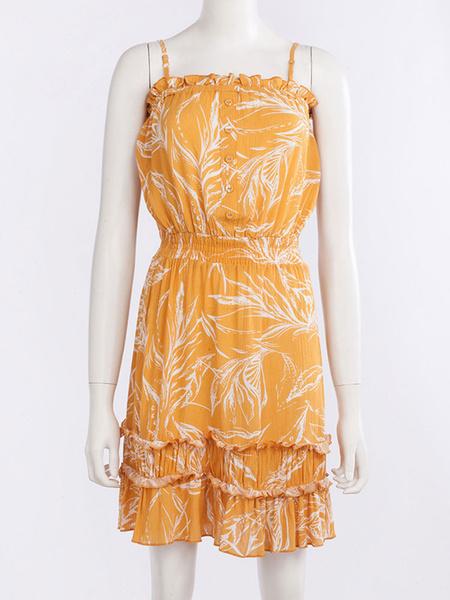 Milanoo Summer Dresses Buttons Leaf Printed Cami Dress