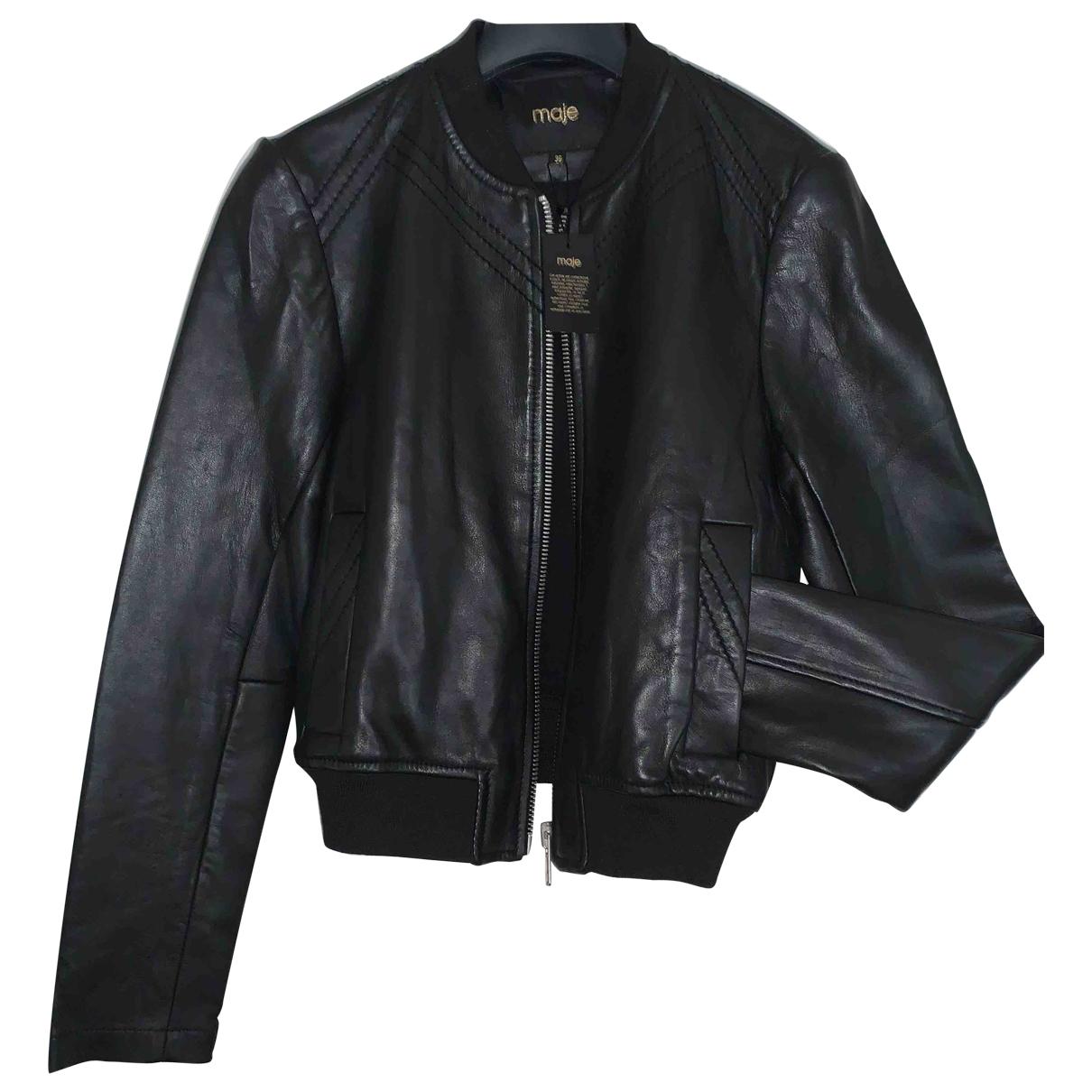 Maje \N Black Leather Leather jacket for Women 36 FR