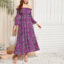 Off Shoulder Shirred Detail Flounce Sleeve Dress