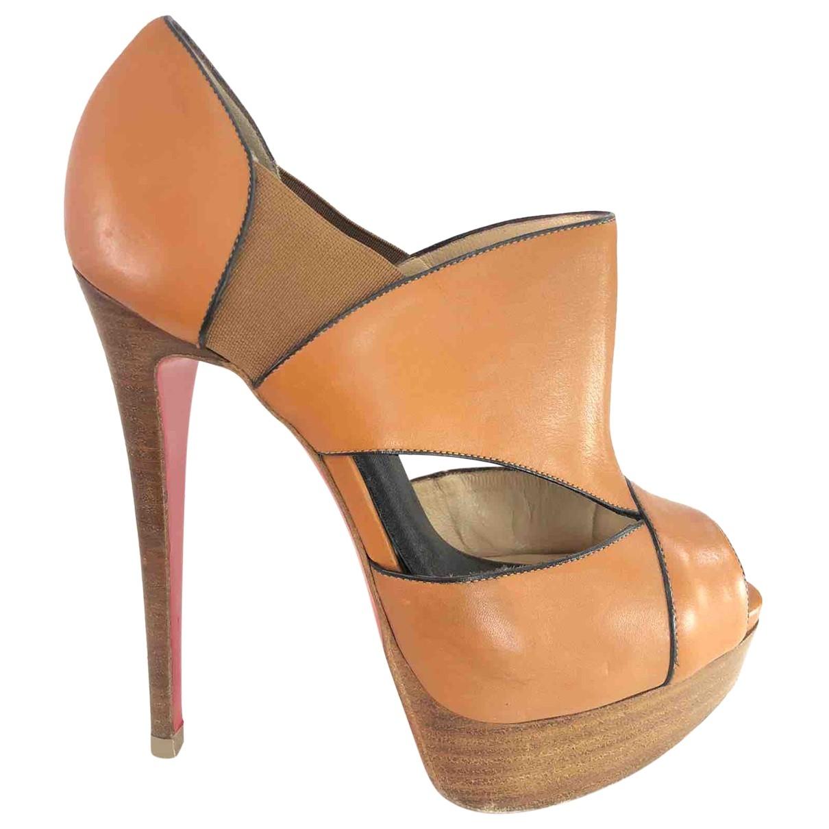 Christian Louboutin \N Camel Leather Sandals for Women 37 EU