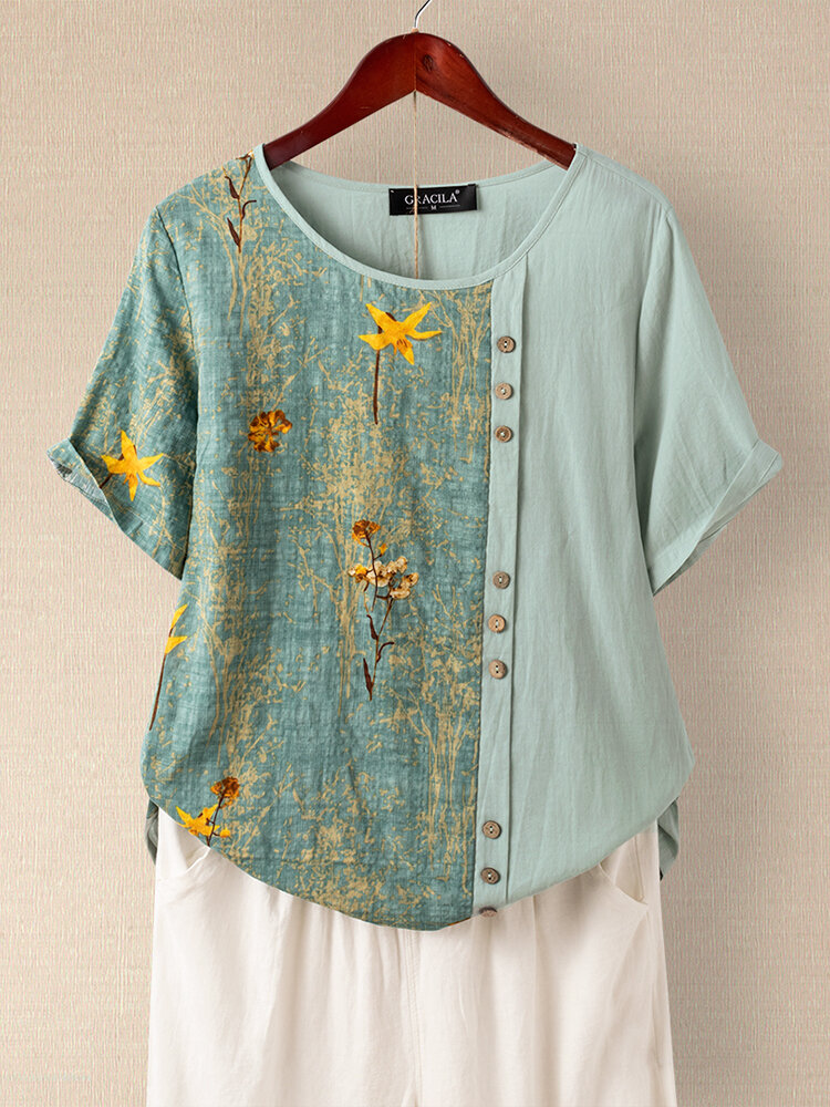 Floral Printed Patchwork Button Short Sleeve T-shirt