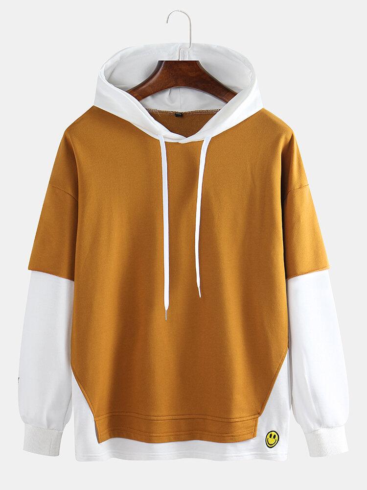 Mens Cotton Patchwork Contrast Color Hoodies