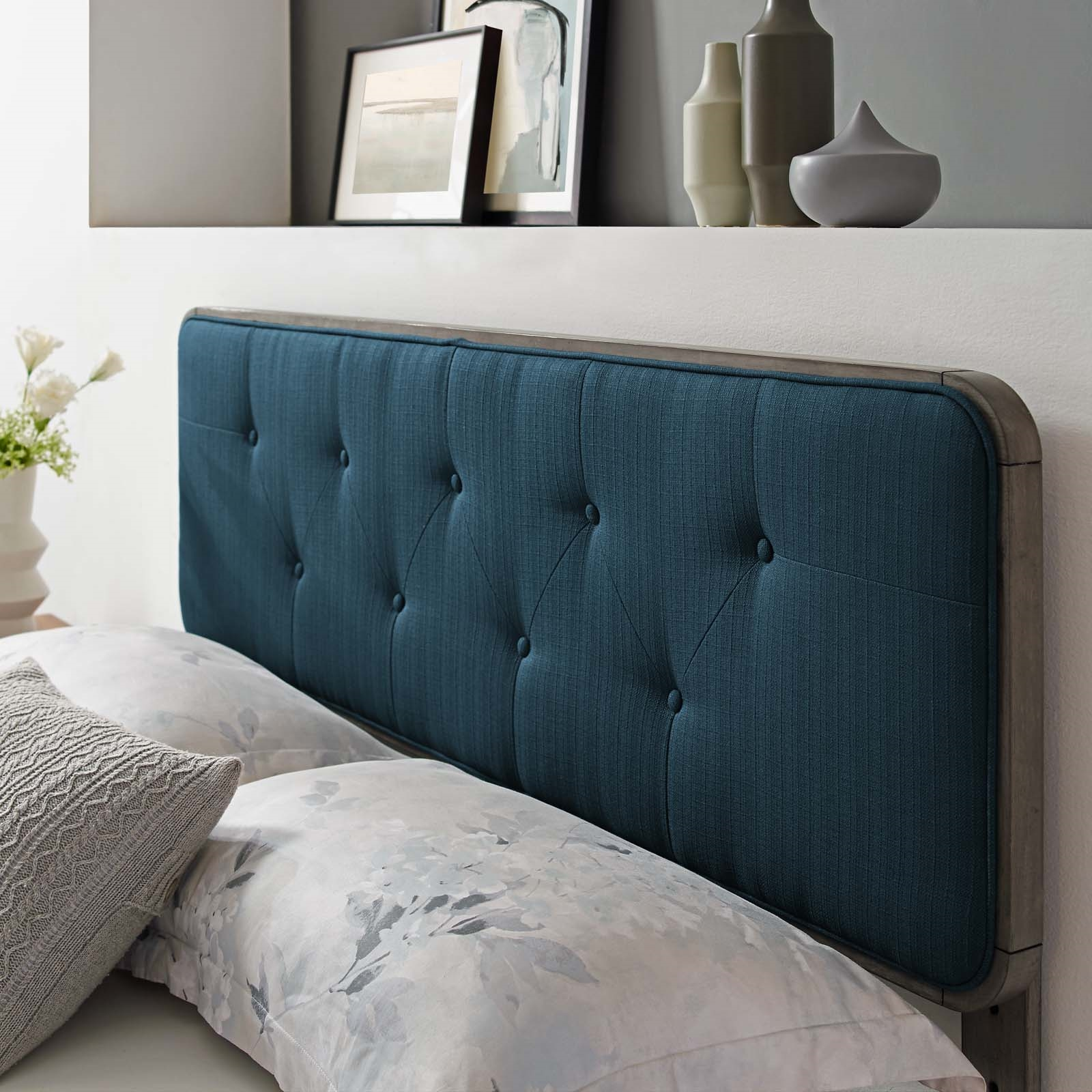 Collins Tufted Twin Fabric and Wood Headboard in Gray Azure