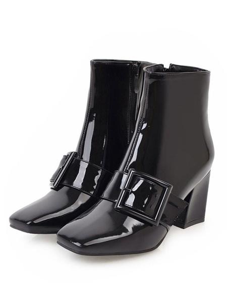 Milanoo Women Patent Leather Square Toe 2.8 Block Heel Ankle Boots