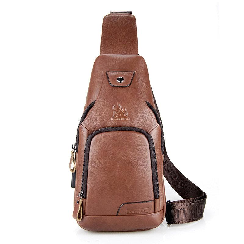 Men Crossbody Bag Casual Cowhide USB Charging Chest Bag