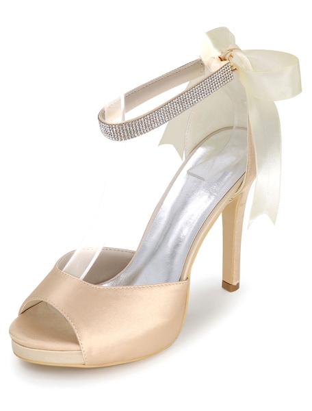 Milanoo Blue Platform Wedding Shoes Satin Sandals Women's High Heel Ankle Strap Stiletto Heel Bridal Shoes