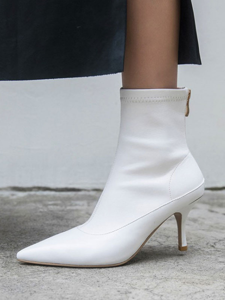 Milanoo Women Ankle Boots PU Leather White Pointed Toe Heels Booties