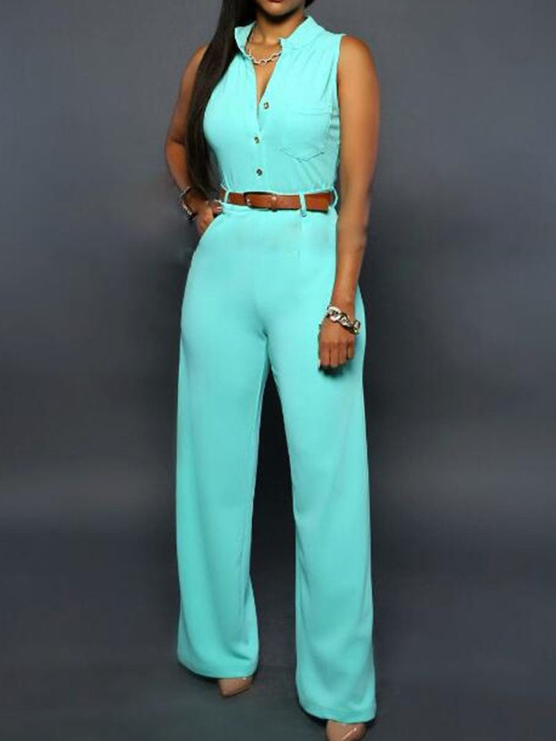 Ericdress Casual Button Plain Straight Slim Jumpsuit