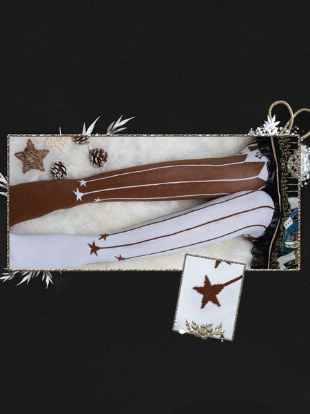 Milanoo Classic Lolita Tights Track Of The Star Print Lace Trim 120D Lolita Knee High Socks