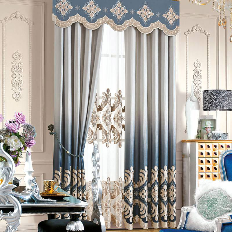Noble and Elegant Royal Style Embroidered Pattern Sheer Curtain