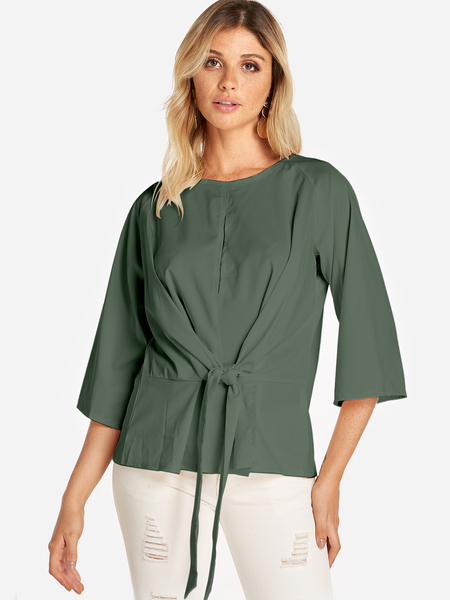 Yoins Army Green Lace-up Design Round Neck 3/4 Length Sleeves Blouses