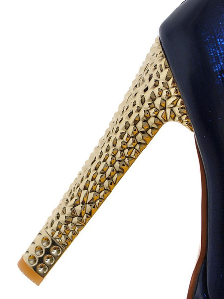 Milanoo Women Sexy High Heels Blue Round Toe Sexy Shoes
