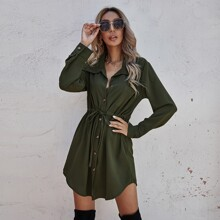 Solid Drawstring Waist Shirt Dress
