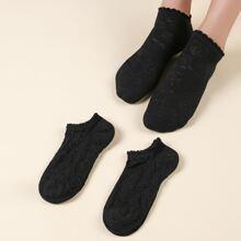 3pairs Simple Solid Socks