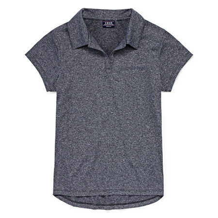 IZOD Little & Big Girls Short Sleeve Wrinkle Resistant Moisture Wicking Polo Shirt, 4-5 , Gray