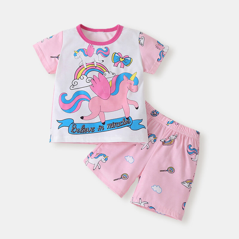 Girl's Unicorn Print Short-sleeved Casual Clothing Set For 1-7Y