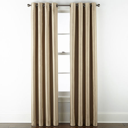 JCPenney Home Malone Blackout Grommet-Top Single Curtain Panel, One Size , Beige