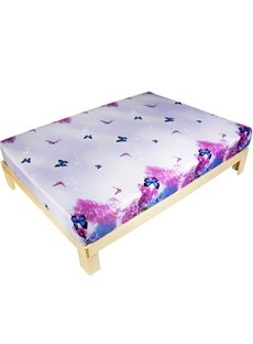 Charming Butterfly and Purple Lilac 3D Printed Fitted Sheet