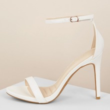 Open Toe Buckled Ankle Strap Stiletto Heel Sandals