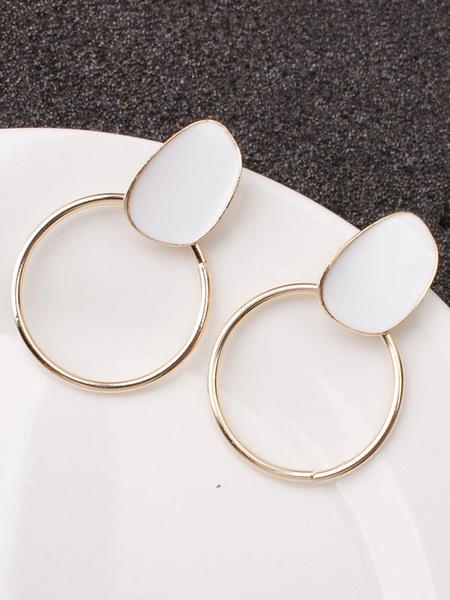 Milanoo Earrings Red Cut Out Metal Non Stone Pierced Women Jewelry