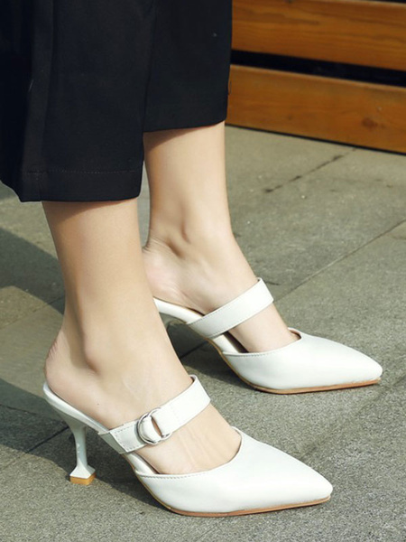 Milanoo High Heel Mules White PU Leather Pointed Toe Slip On Mule Shoes