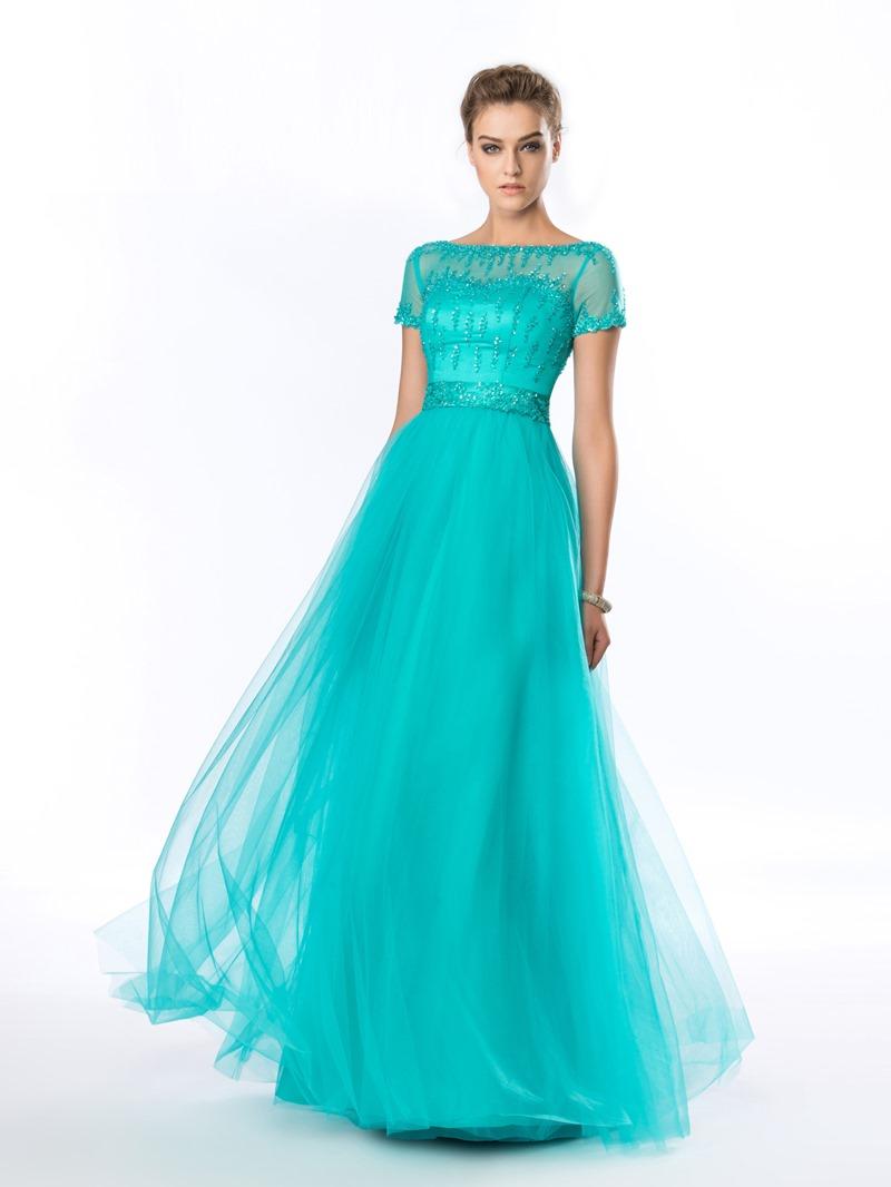 Classy A-Line Bateau Beading Short Sleeves Evening Dress