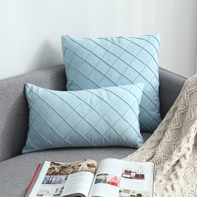 Suede Checked Cushion High Quality Flannelette Throw Pillow 13 Colors Optional