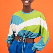 Drop Shoulder Drawstring Hem Colorblock Crop Pullover
