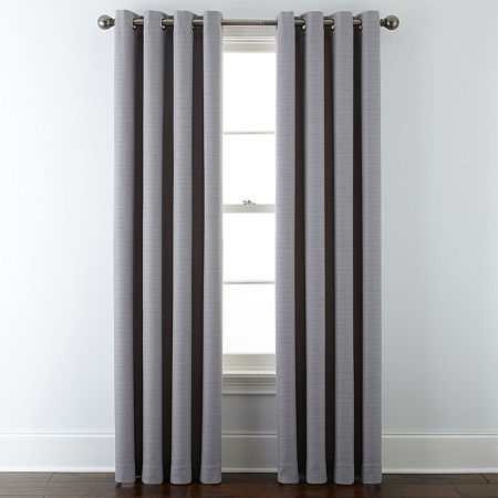 Liz Claiborne Quinn Basketweave Room-Darkening Grommet Top Single Curtain Panel, One Size , Gray
