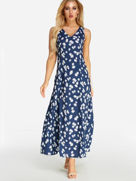 Yoins Random Calico Print Slit Design V-neck Sleeveless Maxi Dress