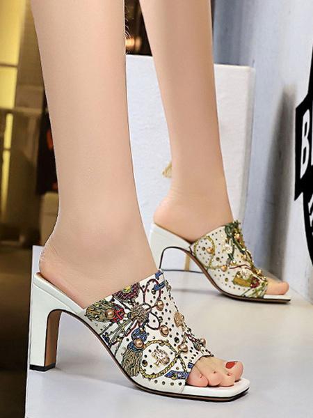 Milanoo Sandal Slippers Black Canvas Square Toe Artwork Retro Slides Mules