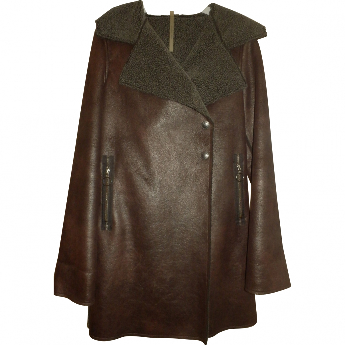 Non Signé / Unsigned \N Brown coat for Women 36 FR