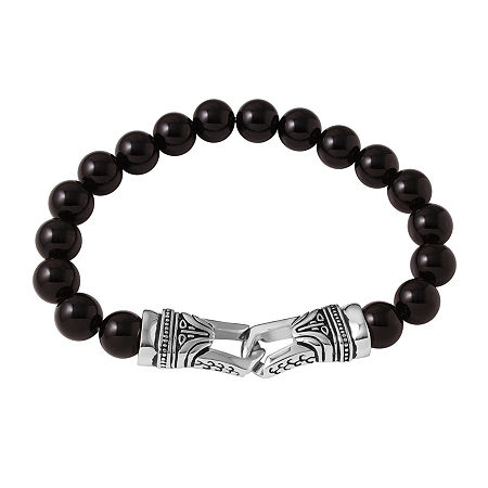 Mens Black Agate Bead and Stainless Steel Bracelet, One Size , No Color Family