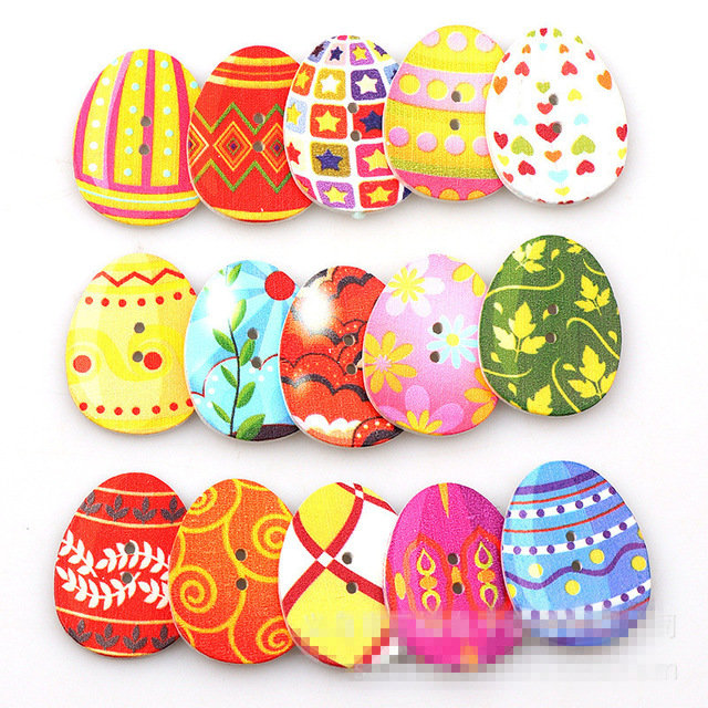 31mm 100Pcs Colorful Easter Eggs Shaped Wooden Buttons Handcraft Cloth Washable Sewing Buttons