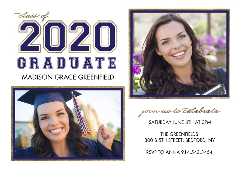 2020 Graduation Announcements Flat Glossy Photo Paper Cards with Envelopes, 5x7, Card & Stationery -2020 Graduate Collegiate by Tumbalina