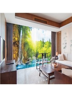 3D High Quality Classic Landscape Style Chiffon Sheer Curtain for Living Room and Bedroom